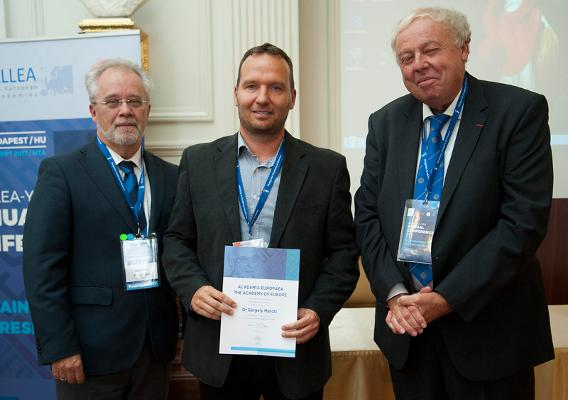 Professor Donald Dingwell, Vice President of Academia Europaea, Gergely Maróti, Professor Sierd Cloetingh, President of Academia Europaea
