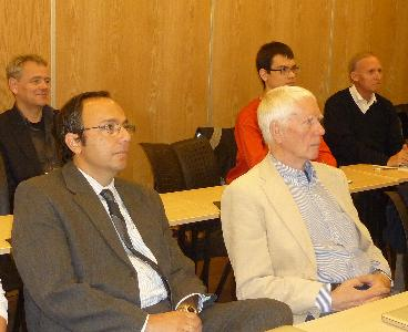 Front row (l.t.r.). Ioannidis, Tyugu; back row (l.t.r.) Droste, participant from other section, Mario J. Pereze-Jimenz