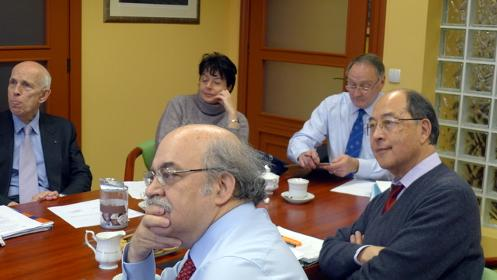 Ole Petersen, Cinzia Ferrini, Michel Che, Andreu Mas-Colell at the board meeting (Photo: J. Langer)