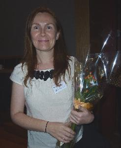 Teresa McGovern with flowers