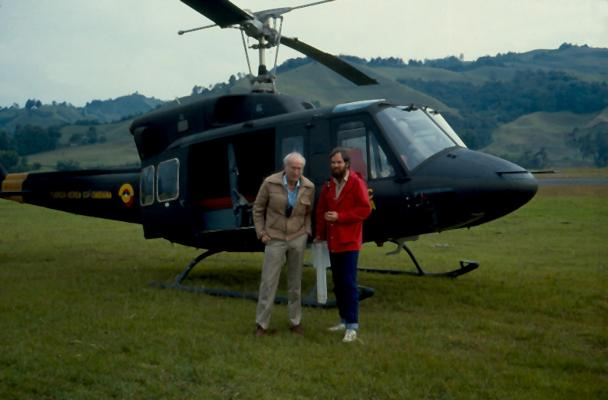 Herman Verstappen with an army helicopter used for observations