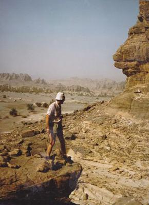 Hermann Verstappen in the Tibesti Mountains in Central Sahara